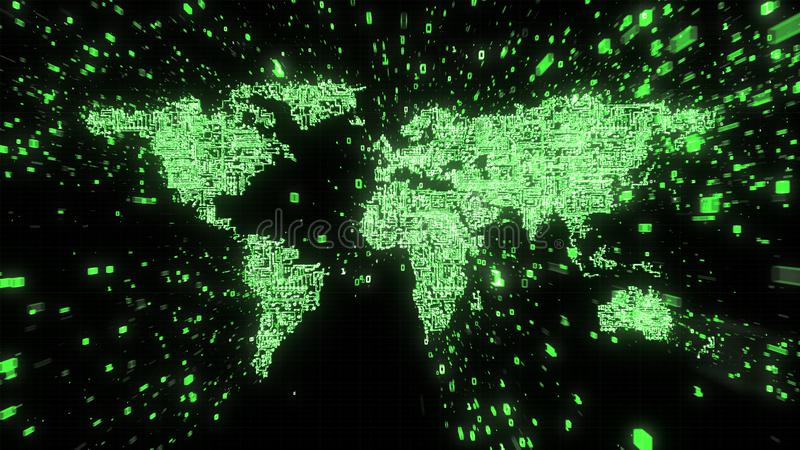 Explosion of binary data around green world map illustrated as digital circuitry. Green binary data and numbers streaming out from computer circuits in the shape royalty free illustration