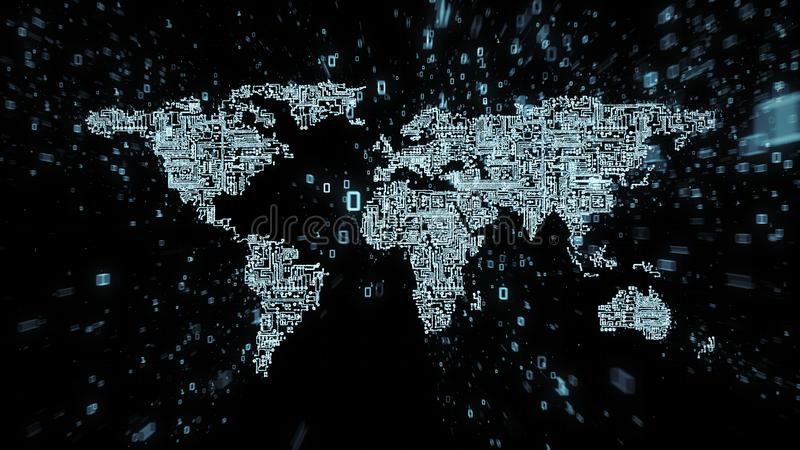 Explosion of binary data around world map illustrated as digital circuitry. Blue binary data and numbers streaming out from computer circuits in the shape of a stock illustration