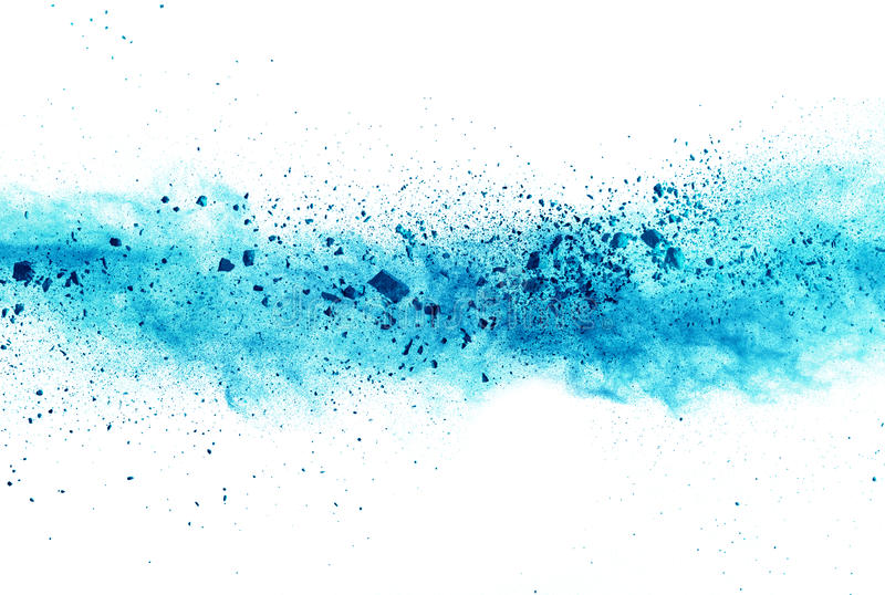Explosion of blue powder on white background stock images