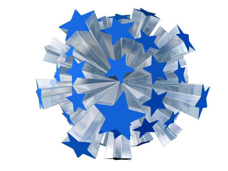 Explosion of blue stars. Isolated illustration of blue stars bursting outwards royalty free illustration