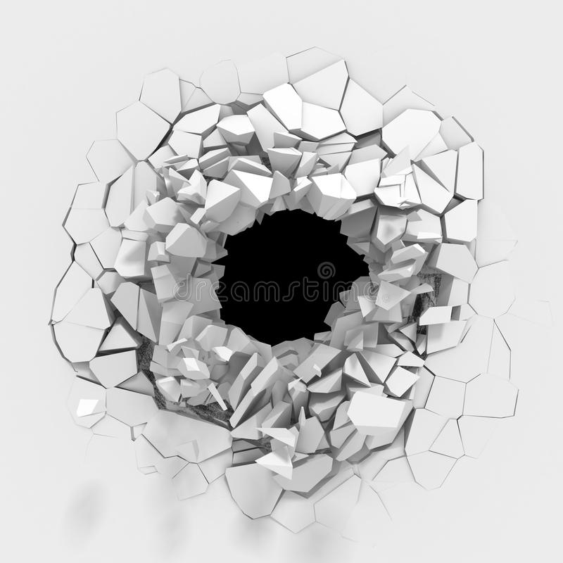 Explosion broken white wall with cracked hole. Abstract background royalty free illustration