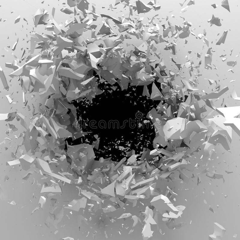 Explosion broken white wall with cracked hole. Abstract background stock illustration