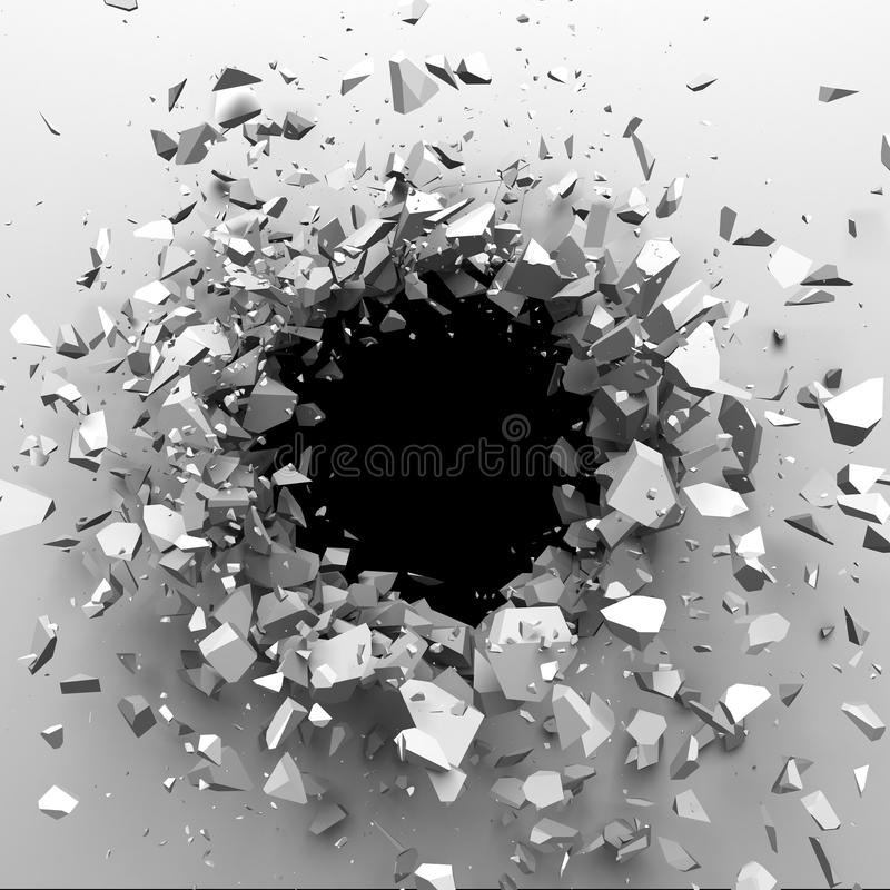 Explosion broken white wall with cracked hole. Abstract background stock photos