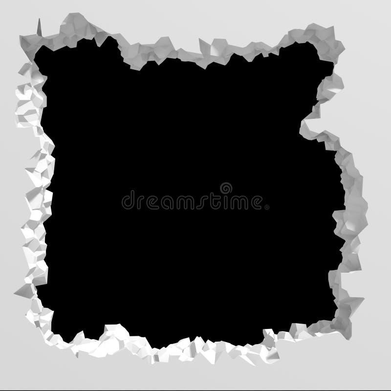 Explosion broken white wall dark black hole. Architecture background royalty free illustration