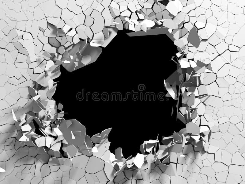 Explosion broken white wall dark black hole. Architecture background vector illustration