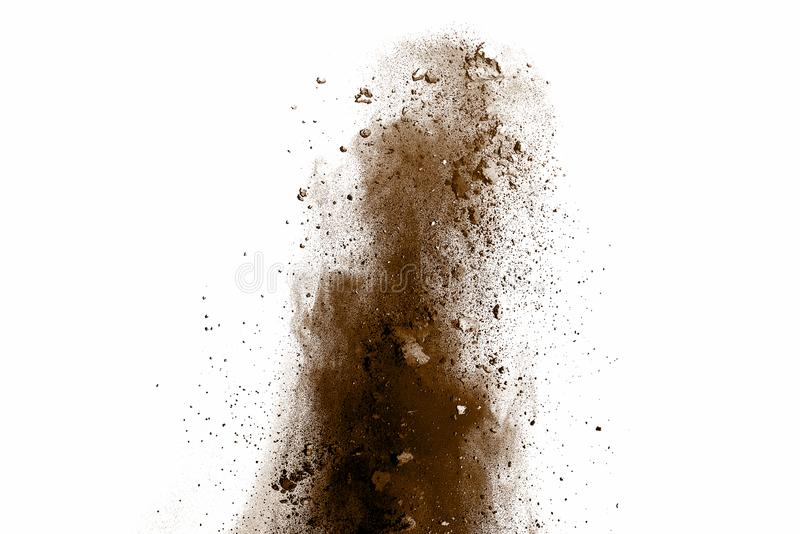 Distributed powder. Explosion of brown dust on white background royalty free stock photo