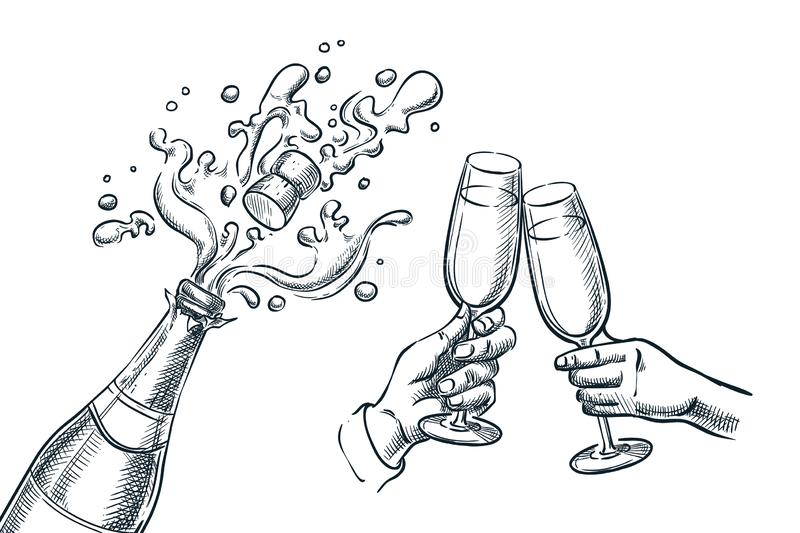 Explosion champagne bottle and two hands with drinking glasses. Sketch vector illustration. New Year, Christmas or Valentines Day. Holiday party celebration stock illustration