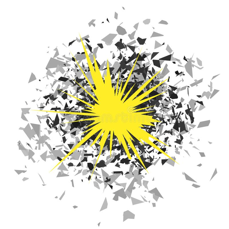 Explosion Cloud of Grey Pieces on White Background. Sharp Particles Randomly Fly in the Air vector illustration