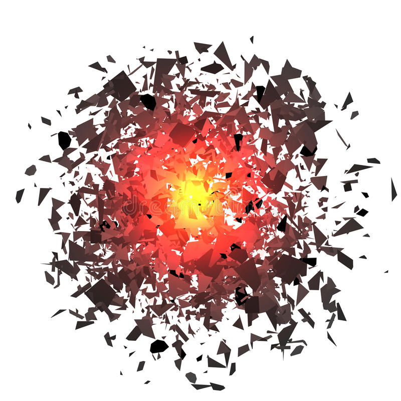 Explosion Cloud of Grey Pieces stock illustration