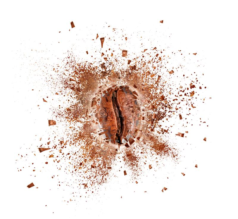 Explosion of coffee bean with hot steam, isolated on white. Background stock photography