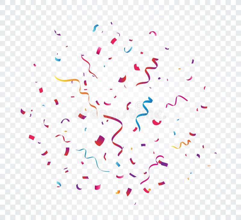 Explosion colorée de confettis, d'isolement sur le fond transparent illustration de vecteur