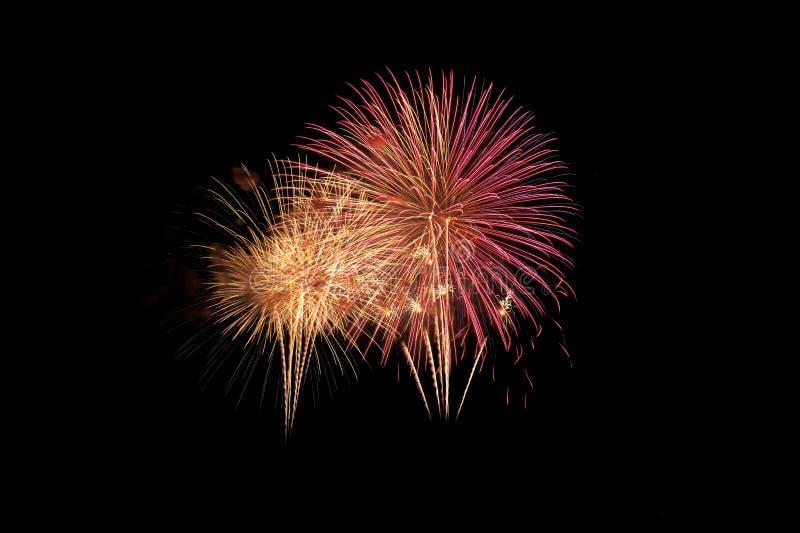 Explosion color?e de feux d'artifice dans le festival annuel photographie stock libre de droits