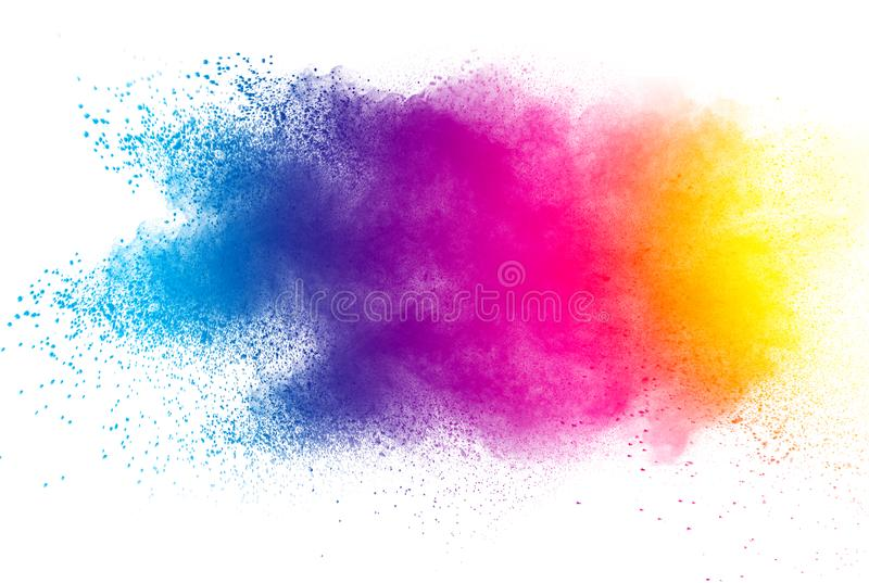 Abstract multicolored powder splatted on white background. Explosion of color powder on white background.abstract multicolored powder splatted on white stock photography
