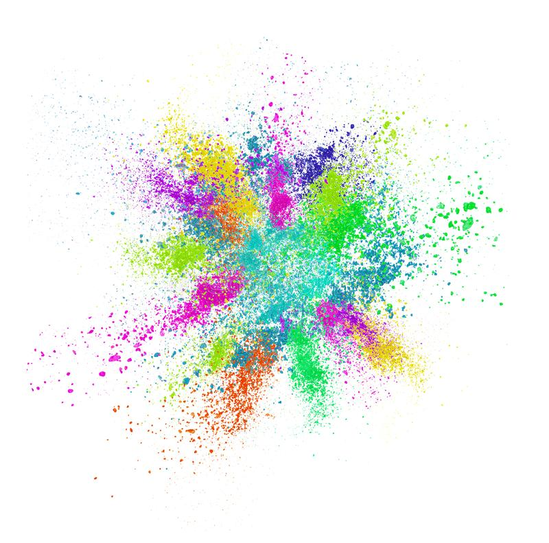 Explosion of colored cosmetic powder isolated on white stock image