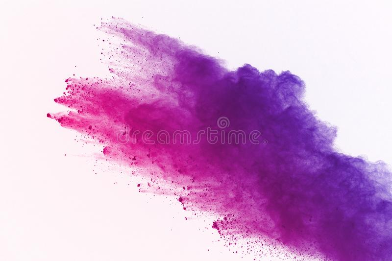 Explosion of colored powder, isolated on white background. Abstract of colored dust splatted. Color cloud. Colored powder explosion on white background stock photos