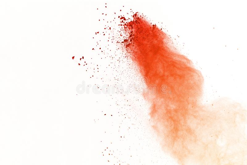 Explosion of colored powder, isolated on white background. Abstract of colored dust splatted. Color cloud. stock image