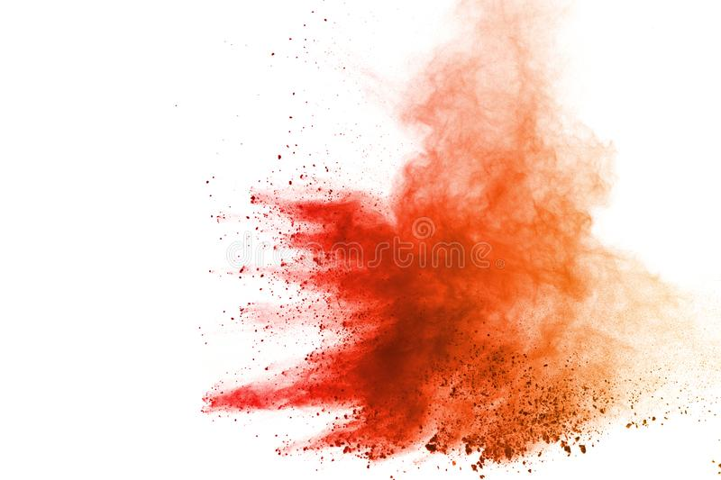 Explosion of colored powder, isolated on white background. Abstract of colored dust splatted. Color cloud. royalty free stock images