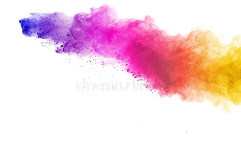 Explosion of colored powder, isolated on white background. Abstract of colored dust splatted. Color cloud. Abstract of colored powder explosion on white stock photos