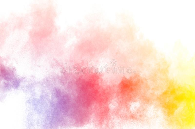 The explosion of colorful holi powder. Beautiful rainbow color powder fly away. royalty free stock photos