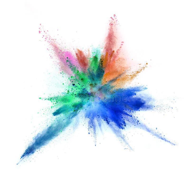 Explosion of coloured powder on white background stock illustration