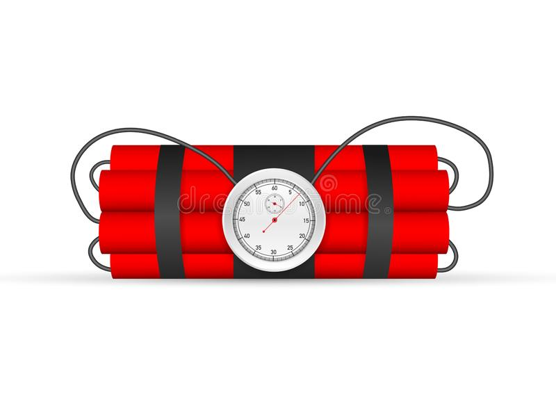 Explosion countdown. Tnt time bomb . Timebomb with clock. Vector stock illustration royalty free illustration