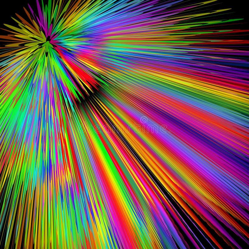 Explosion d'arc-en-ciel, fond multicolore abstrait de vecteur dans des couleurs vives de spectre, décoration d'exposition de lase illustration libre de droits