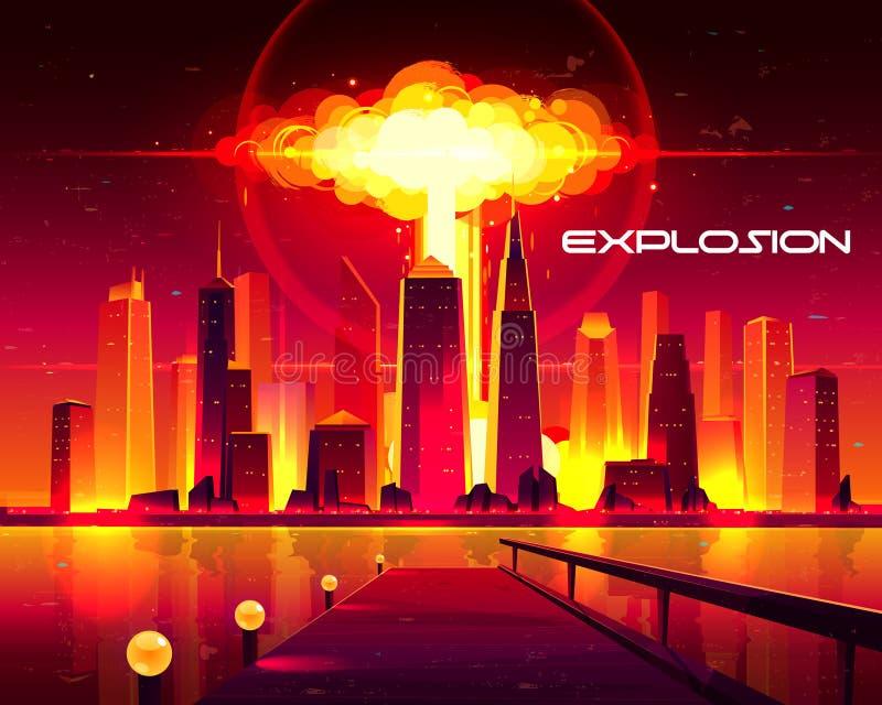 Explosion d'arme nucléaire dans le vecteur de bande dessinée de ville illustration de vecteur