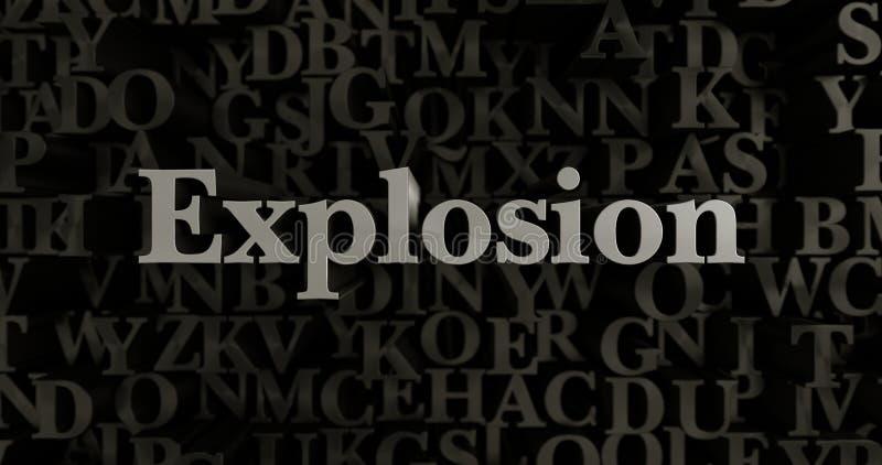 Explosion - 3D rendered metallic typeset headline illustration stock illustration
