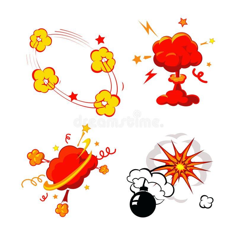 Explosion de bande dessinée, bombes et ensemble de souffle, bande dessinée illustration stock