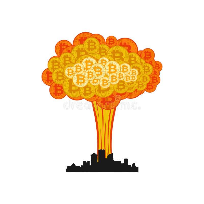 Explosion de Bitcoin dans la ville Grand nuage de crypto devise illustration libre de droits