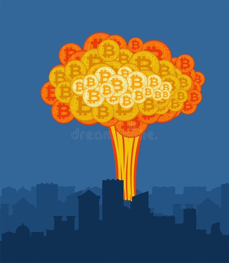 Explosion de Bitcoin dans la ville Grand nuage de crypto devise illustration de vecteur