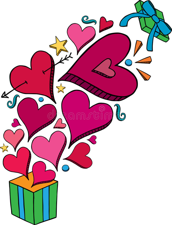 Explosion de cadeau de coeur de griffonnage illustration libre de droits