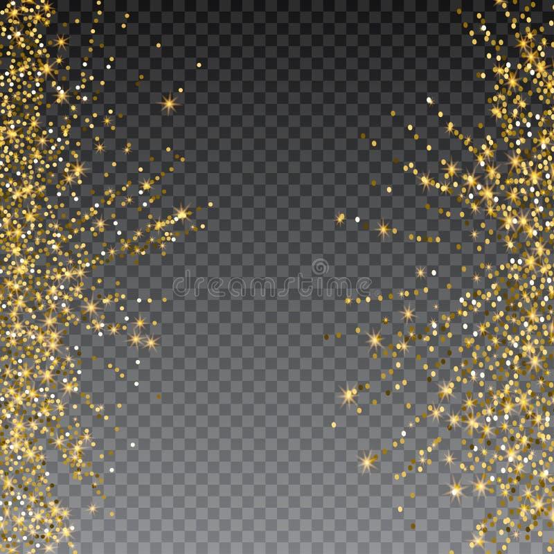 Explosion de fête des confettis Fond de scintillement d'or pour la carte, invitation Élément décoratif de vacances illustration stock