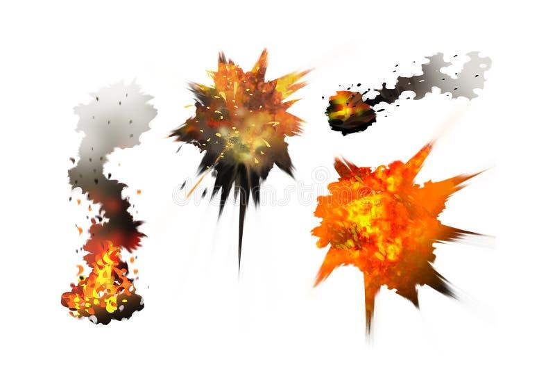 Explosion de peinture d'illustration de Digital, fumée, feu avec le cli illustration de vecteur