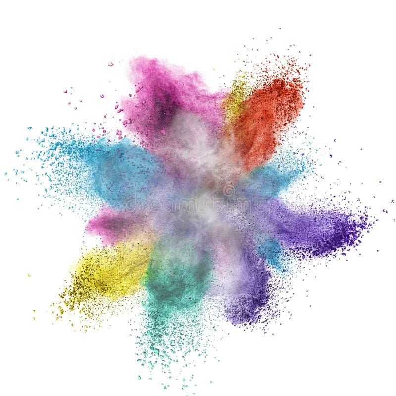 Explosion de poudre de couleur d'isolement sur le blanc images stock