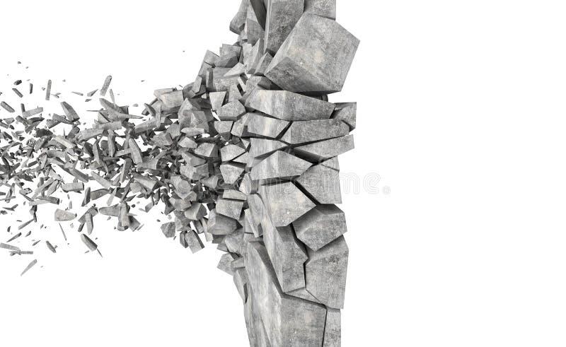Explosion der Betonmauer vektor abbildung