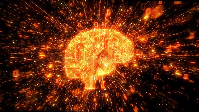 Explosion des données binaires autour du cerveau orange illustré en tant que circuits numériques illustration de vecteur