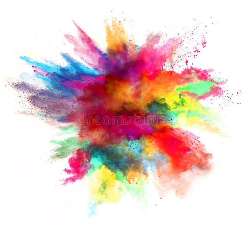 Explosion des farbigen Pulvers auf weißem Hintergrund lizenzfreie stockfotos