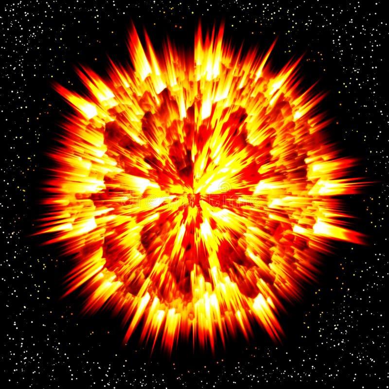 Explosion des Planeten lizenzfreie abbildung