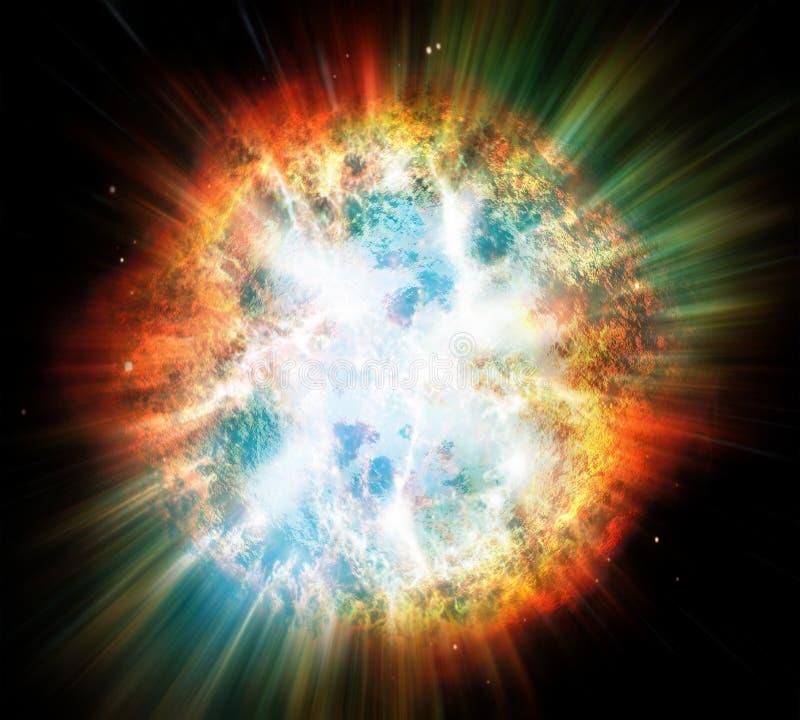 Explosion des Planeten oder des Sternes lizenzfreie abbildung