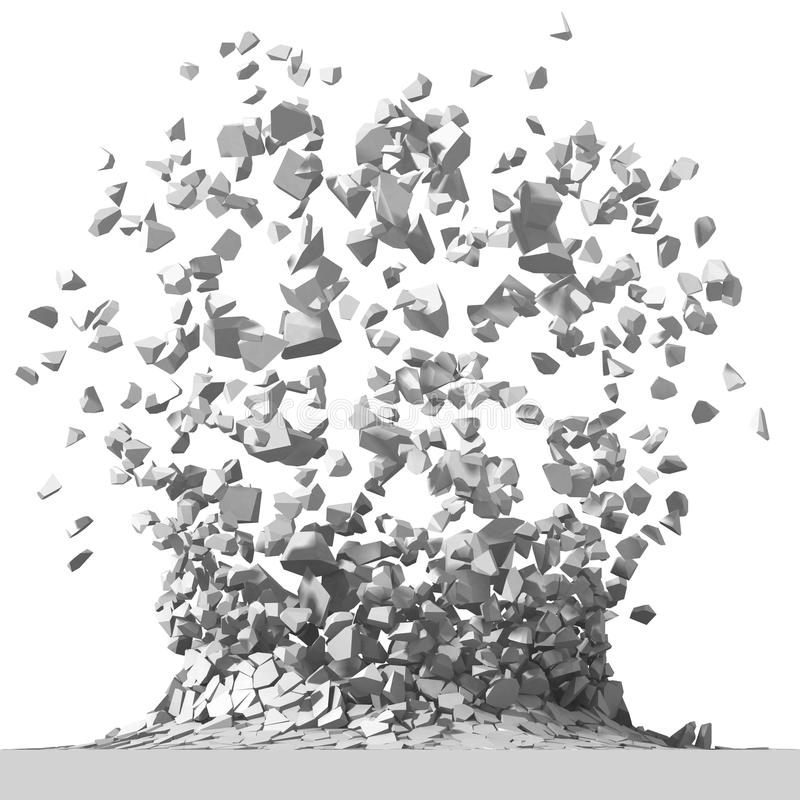 Explosion destruction with many chaotic fragments. Abstract destruction background. 3d render illustration royalty free stock images