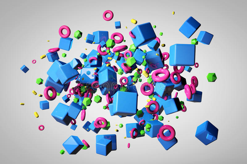 Explosion of different 3D objects in empty space vector illustration