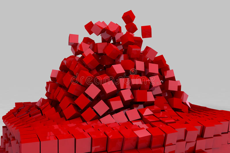Explosion du champ des cubes rouges illustration de vecteur