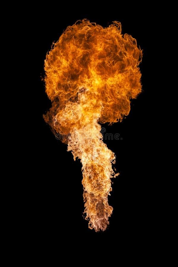 Explosion du feu, d'isolement sur le fond noir images libres de droits