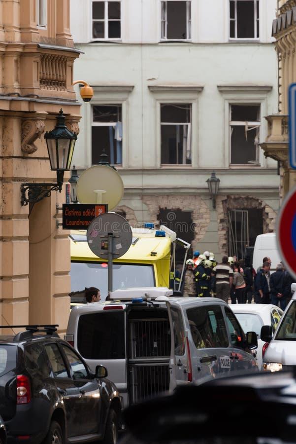 Explosion du gaz de Prague au le 29 avril 2013 photos libres de droits
