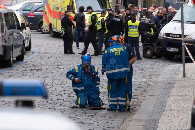 Explosion du gaz de Prague au le 29 avril 2013 image libre de droits