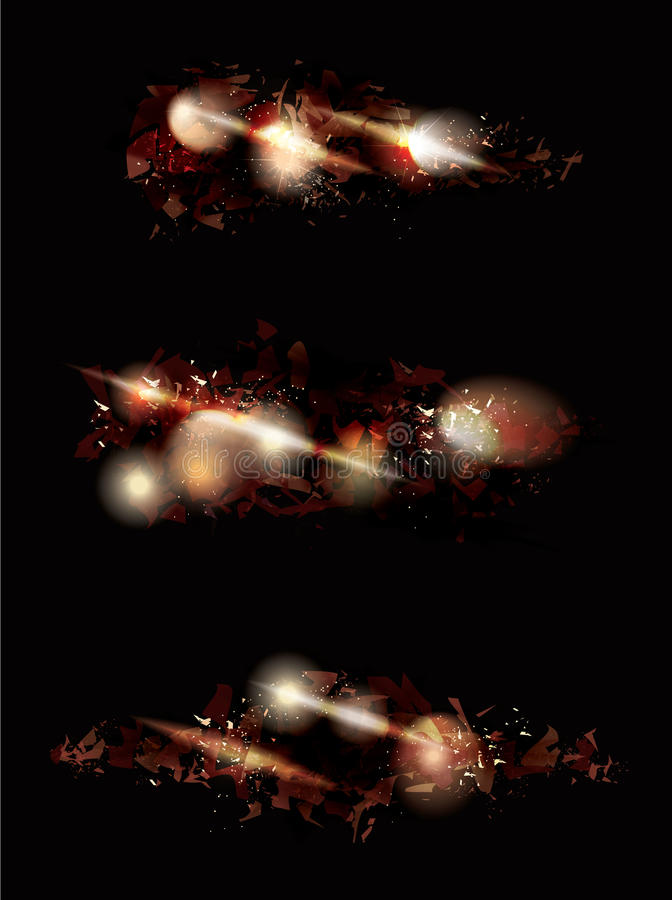 Explosion effect design collection. Fire explosion shattered effect design collection stock illustration
