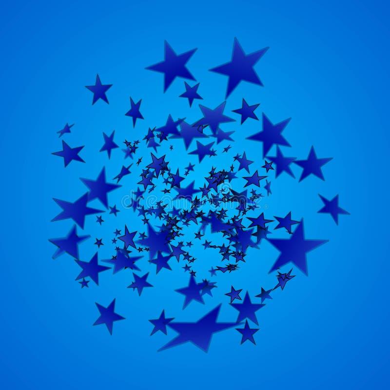 Explosion för blå stjärna tecknad filmcommandertryckspruta hans illustrationsoldatstopwatch Djup av sätter in på baksida av en pe vektor illustrationer