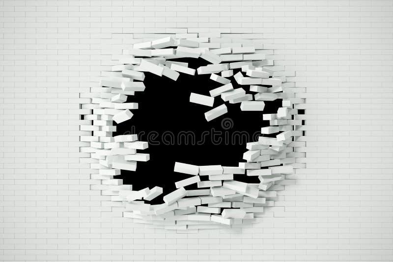 Explosion förstörelse av en vit tegelstenvägg, abstrakt bakgrund för mallen för ett innehåll illustration 3d royaltyfri illustrationer