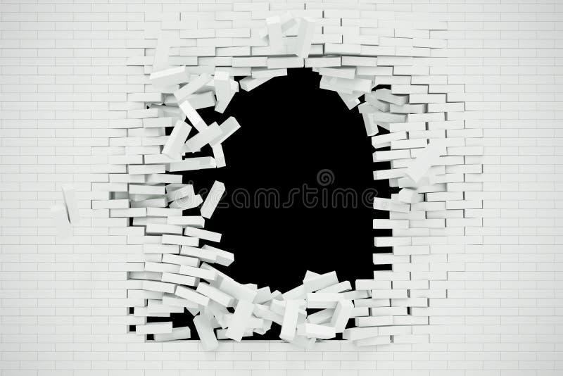 Explosion förstörelse av en vit tegelstenvägg, abstrakt bakgrund för mallen för ett innehåll illustration 3d vektor illustrationer
